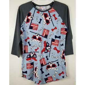 LulaRoe American Dog 3/4 Sleeve Shirt S